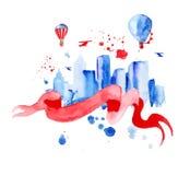 Город верхнего слоя силуэта с брызгает падений акварели Стоковое фото RF