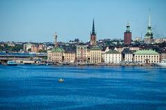 Город взгляда Стокгольма от моря Стоковые Фотографии RF
