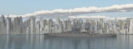 Город взморья и американский военный корабль от Второй Мировой Войны стоковое фото rf