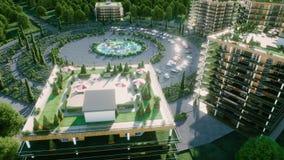 Город, визуализирование 3d городка архитектурноакустическое вид с воздуха Реалистическая анимация 4K
