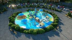 Город, визуализирование 3d спортивной площадки архитектурноакустическое перевод 3d Стоковые Изображения