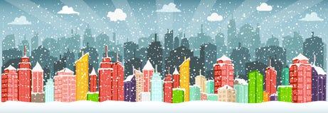 Город в зиме (рождество) иллюстрация вектора