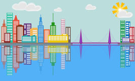 Город в отражении Стоковые Фото