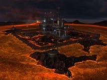 Город в центре озера лавы Стоковые Фотографии RF