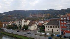 Город Гейдельберга & x28; Germany& x29; - взгляд над старым городком включая замок Стоковое Фото