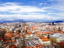 Город городка точек зрения старый в Любляне Словении Стоковая Фотография RF