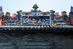 Город Гуанчжоу, туристические достопримечательности Китая известные, украшение искусства крыши залы Chen родовое Стоковое Фото