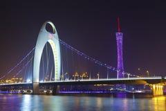 Город Гуандуна главный, взгляд ночи Гуанчжоу в Китае. Стоковое фото RF