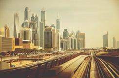 Город Дубай современный Стоковые Изображения RF