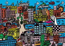 Город Дублина Иллюстрация вектора
