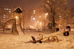 Город зимы вечера Стоковое Изображение