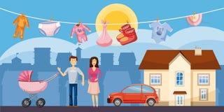 Город знамени семьи горизонтальный, стиль шаржа бесплатная иллюстрация