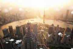 Город здания высоты точки зрения Шанхая Стоковые Фото