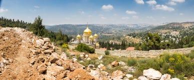 Город Иерусалима панорамы зданий церкви монастыря Moscovia Gorny Стоковые Фото