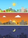 Город и ландшафт в различных временах дня Стоковые Фотографии RF