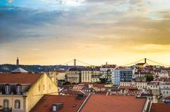 Город и небо: Лиссабон, Португалия Стоковое Изображение RF