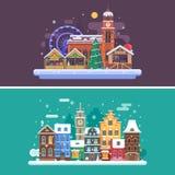 Город и рождественская ярмарка зимы Стоковые Фотографии RF