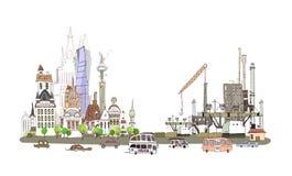 Город и фабрика на занятой дороге, предпосылка собрания города Стоковое Изображение