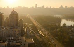 Город Киев захода солнца, взгляд Dnipro Стоковая Фотография RF