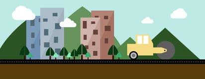 Городки под конструкцией, плоской иллюстрацией Стоковые Изображения RF