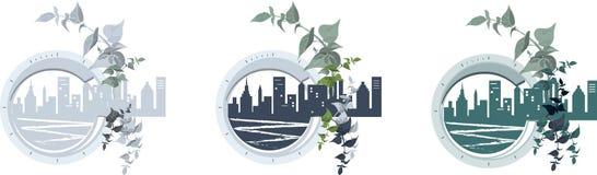Город Комплект круглых значков с townscape иллюстрация вектора