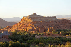 Город-крепость Ait ben Haddou около Ouarzazate Марокко Стоковое Фото