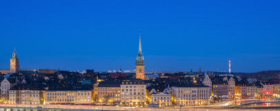 Город к ноча, Швеция Стокгольма Стоковое Изображение RF
