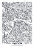 Город Лондон карты плаката вектора Стоковые Фото