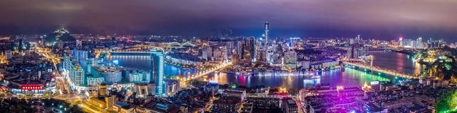 Город Лючжоу на ноче Стоковые Фотографии RF