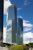 Город Мадрида, бизнес-центр, современные небоскребы Стоковые Фотографии RF