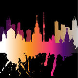 Город Москва верхнего слоя силуэта с брызгает ориентир ориентиров штриховатостей падений акварели Бесплатная Иллюстрация