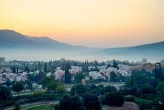 город над восходом солнца Стоковая Фотография
