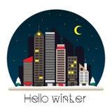 Город на иллюстрации вектора ночи в плоском стиле Стоковое Изображение RF