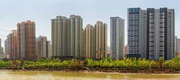 Город на марта 2015, провинция Ланьчжоу Китая, Ганьсу Стоковые Изображения RF