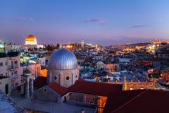 Город на ноче, Израиль Иерусалима старый стоковая фотография