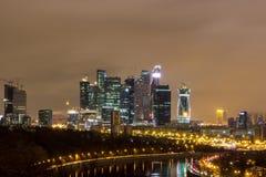 Город на ноче, Москва на ноче Стоковые Изображения
