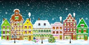 Город на ноче рождества Стоковая Фотография