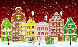 Город на ноче рождества 1 Стоковая Фотография RF