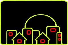 Город на ноче иллюстрация штока