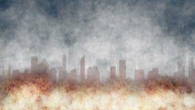 Город на огне сток-видео