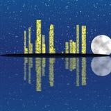 Город ночи с звездами и луной Стоковые Фотографии RF