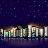 Город ночи с звездами Ночное небо в городке также вектор иллюстрации притяжки corel Стоковое фото RF