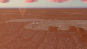 Город океана и тележки караван и самолет летания на заходе солнца иллюстрация штока