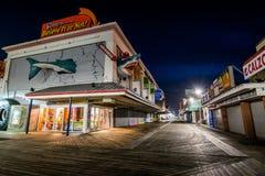 Город океана, пристань Мэриленда во время теплой ночи падения Стоковые Изображения RF