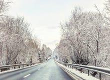 город около железнодорожной дороги светит солнцу снежка к древесине зимы стоковые фотографии rf