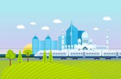 Город, окрестности, ландшафт, поля и фермы, метро, здания, структуры иллюстрация штока