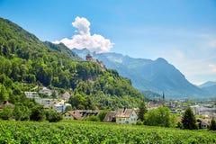 Городок Вадуц и замок, Лихтенштейн Стоковые Фотографии RF
