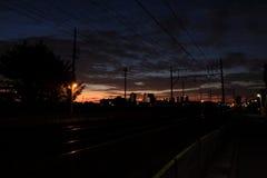 Городок в рассвете Стоковые Изображения RF