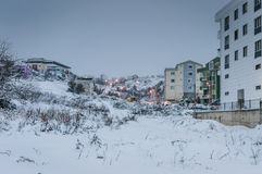 Городок в снеге зимы Стоковое Фото