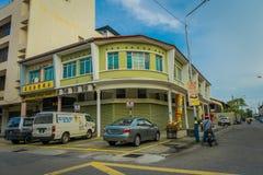 Городок Джордж, Малайзия - 10-ое марта 2017: Взгляд Streetscape зданий и ежедневная жизнь второй по величине города внутри Стоковое Фото